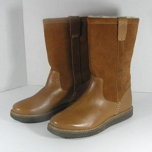 CLARKS Boots Glick Elmfield Leather Faux Fur Lined